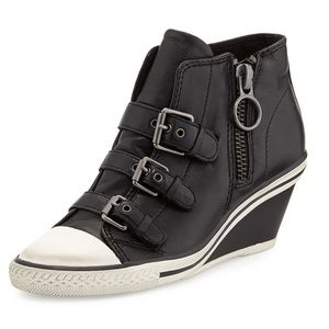 Ash Gin Bis Buckled Leather Wedge Sneaker in Black